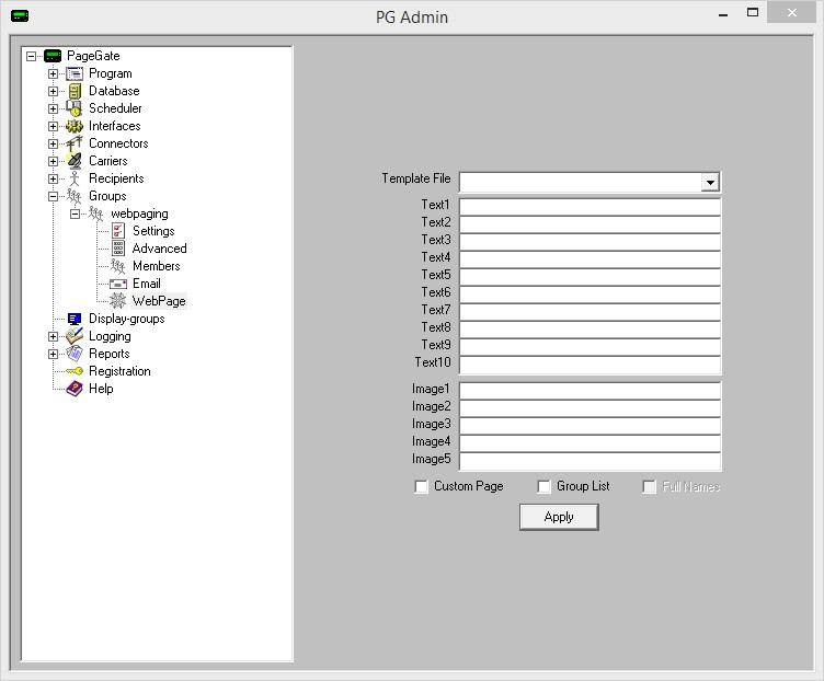 GUI List Template Configuration